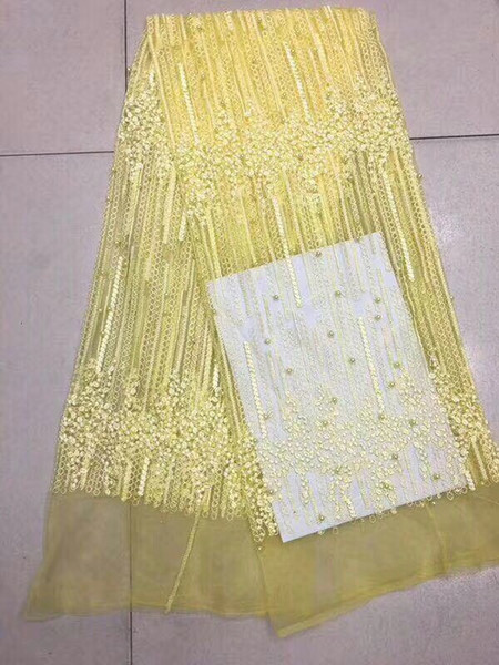 Wholesale Gold Yellow French Lace Fabric With Beads Pearls High Quality Net Guipure Embroidered Mesh French Tulle Dress AFFJF42