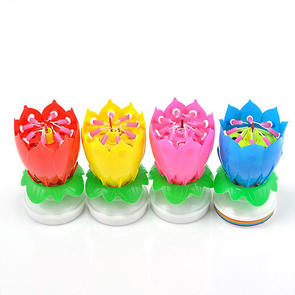 Romantic Musical Lotus Candle Lights Flower Rotating Happy Birthday Party Gift Can Sing the Birthday Song Candle Lights
