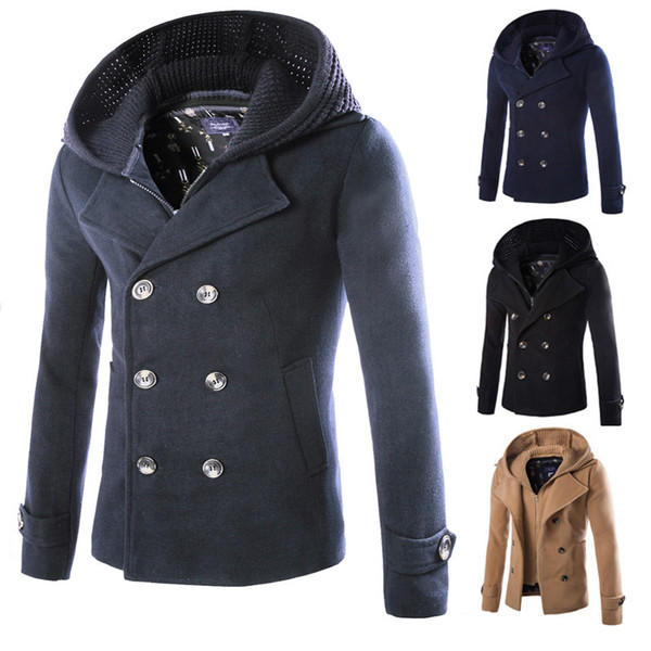 Herbst Winter im britischen Stil Herren Wollmantel Zweireihiger Trenchcoat Markenkleidung Hochwertiger Wollmantel mit Kapuze Männer J18111151