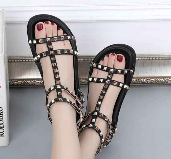 womens slingbacks designer sandals gladiator T tied sandals women rivet shoes black red nude white designer sexy Flat slide sandals shoe