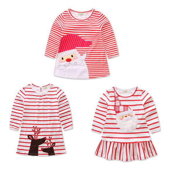 top popular Baby girls Christmas deer Santa Claus dress cartoon Children stripe princess dresses Xmas kids costume C2573 2020