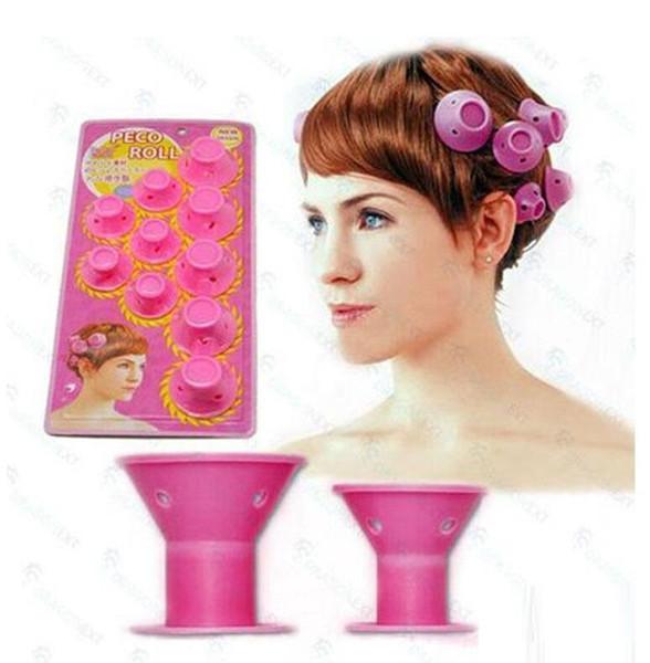 10 unids / set peinado suave cuidado del cabello DIY Peco Roll estilo de pelo Roller Curler Salon rizador de pelo