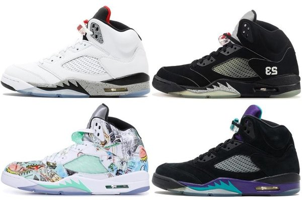 2019 hot SUP Bred 5 wings 5s PSG Black men Basketball Shoes Laney oreo silver OG White Grape Space Jam mens sports Sneakers 40-47 zfmall