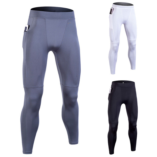 DIQIAN Bodybuilding Men Pocket Running Pants Fitness Solid Color Male Training Pants Sport Trousers 3 Colors Tight Legging 3XL