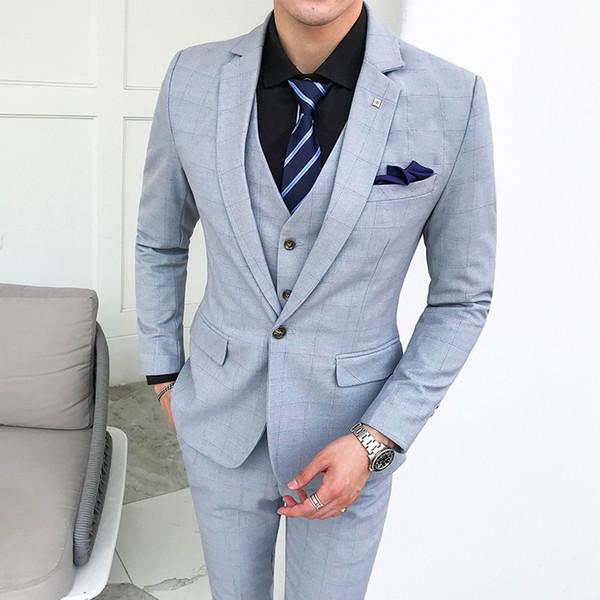 Wedding Suits For Mens Purple Traje Hombre Formal Light Blue 3 Piece Mens Suits Designers 2018 Plaid Terno Masculino Slim Fit