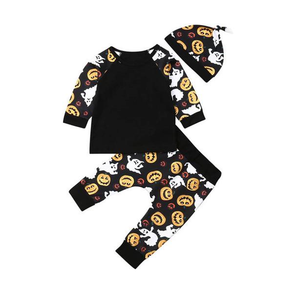 2019 новый INS Хэллоуин новорожденный костюмы ребенка костюмы длинный рукав футболку + PP брюки + шапки 3шт / набор девочка зима костюмы детская одежда A7948