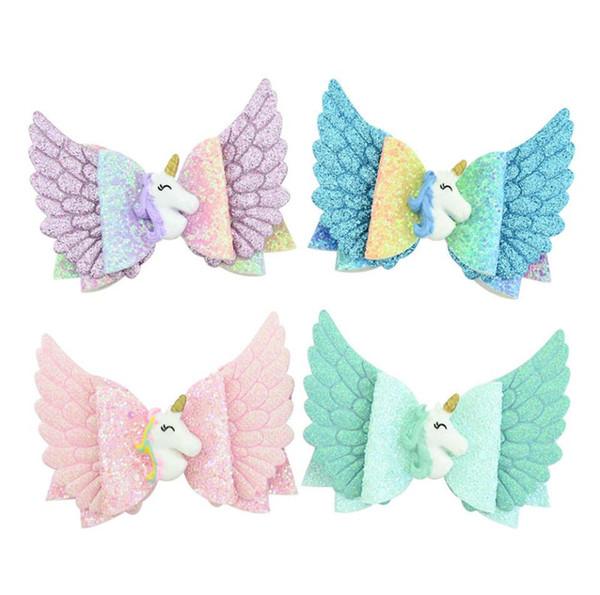Ins Baby Girls Wings Glitter Unicorn Bowknot Hairpin Children Princess Cartoon Rainbow Barrettes DIY Hairclip Kids Hair Clip Headwear A52701