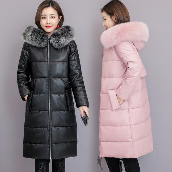 Acheter Fox Fourrure Long Manteau Bas Pour Les Femmes En Cuir Hiver Manteaux Bas Parkas À Capuche Manteau Survêtement Chaud Imperméable Coupe Vent