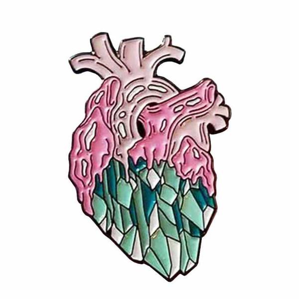 Anatomical pastel heart badge body organ brooch weird Goth art pin medical jewelry doctor nurses gift