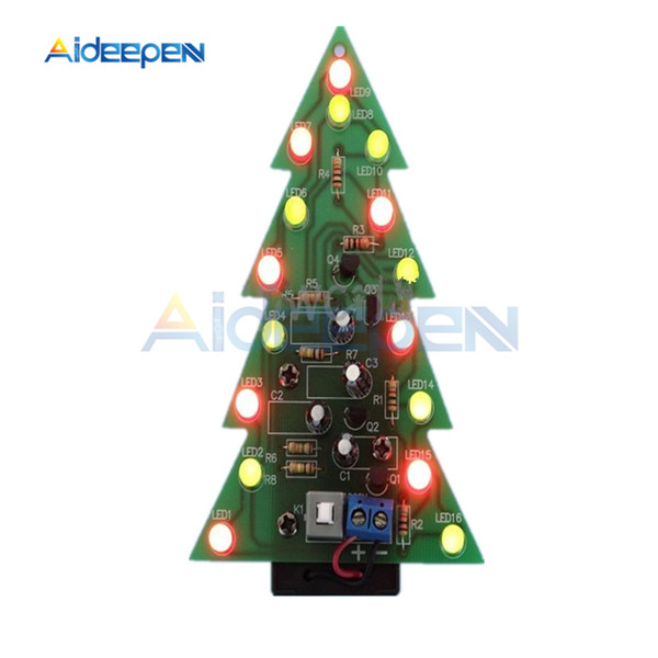 DIY Kit Christmas Trees LED Circuit Electronic PCB Board Module Red Green Flash Light Electronic Suit Holiday Decoration
