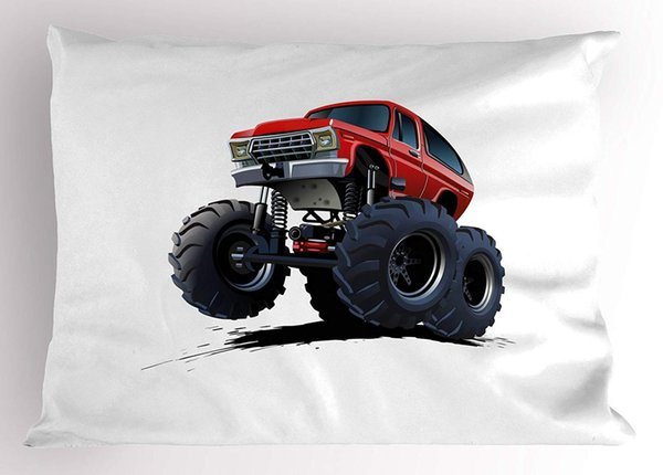 Truck Pillow Sham Extreme Off Road Vehicle Cartoon Style Monster Truck Motorsports Illustration Decorative Standard Size Printed Pillow Case