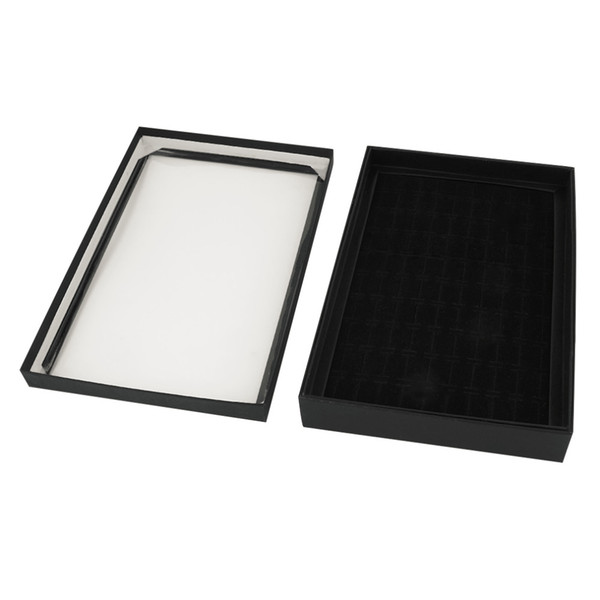 Popular New 100 Slots Soft Velvet Ring Earrings Display Box Jewelry Tray Storage Case Holder Showcase Organizer with Lid