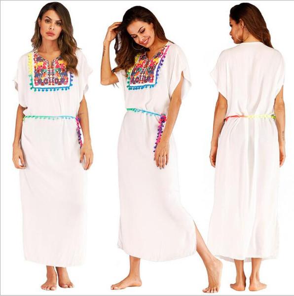 Avrupa ve Amerikan kadın nakış dikiş renk püskül yarık uzun plaj bluz elbise