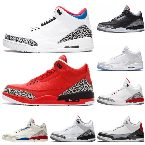 Toptan 3 3 s Saf Beyaz Kore Erkekler Için Basketbol Ayakkabıları Spor tasarımcı ayakkabı En İyi Kalite Kırmızı gerçek Mavi Çimento Sneakers boyutu ABD 36-45