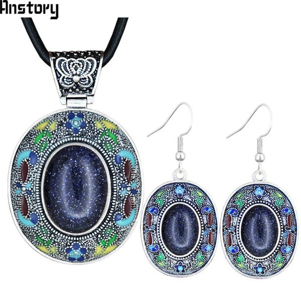 Sets Dark Blue Sequins Stone Jewelry Sets Vintage Necklace Earrings Hand Painting Craft Flower Plant Bohemia Fashion Jewelry TS452
