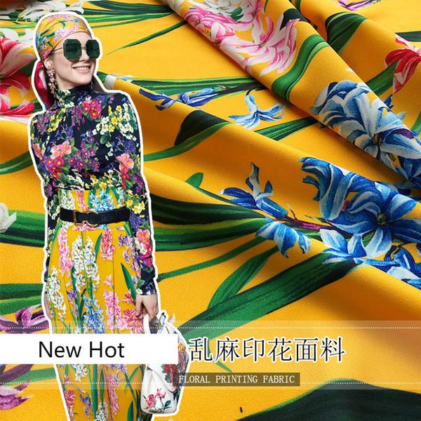 2018 novo poliéster moda pano marca com o mesmo padrão de tecido saia camisa calças roupas pano impressão digital avançada