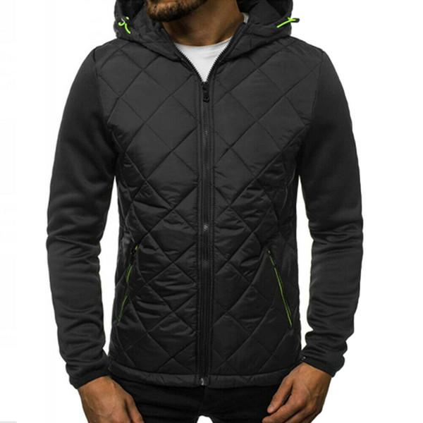 Sweat à capuche Manteaux hommes Homme Fermeture eclaire poches patchwork Manteau à capuche Hiver chaud Sweat Sweat Outwear Tops 2019 Nouveau