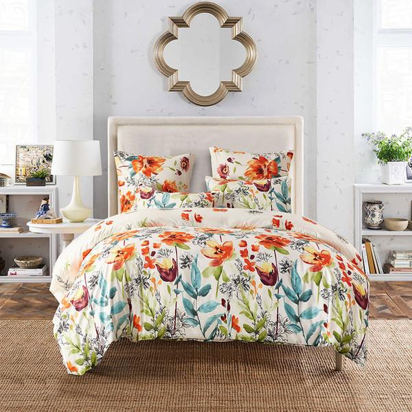 Luxus Sun Colored Blumen Königin Super King Size Bettwäsche-Sets Pastoral Printed Floral Bettbezug Set Kissenbezüge Single Double