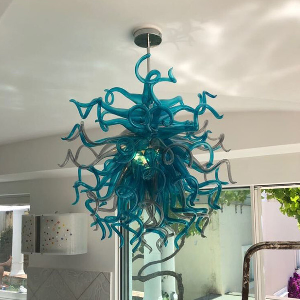 Artistic Turquoise Blue Glass Decoration Chandelier Led Light Source Hand Blown Glass Chandelier Lamps For Living Room Pendant Light Kitchen Coloured