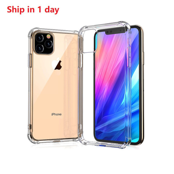 For iphone 11 pro max ca e with retail packaging clear tran parent tpu hockproof protect cover anti knock ca e for iphone xr x 8 free hip