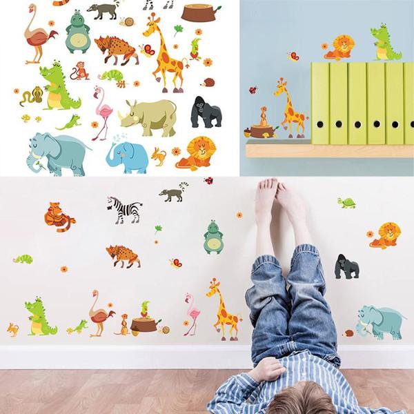 Mayitr Jungle Animals Decal Lovely Cartoon DIY Kids Wall Stickers Zoo Mural Children Nursery Baby Room Decor Wallpaper Gift
