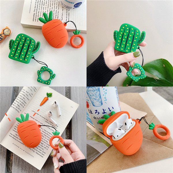 3D Cute Cactus Carrot Silicone Case For Apple Airpods Cover Case Cartoon Bluetooth Earphone Protective Cover For Airpods Finger Ring