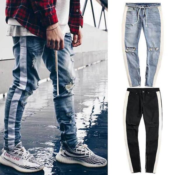 Kanye GD Tanrı Korkusu Kot Çizgili Erkekler Yüksek Sokak Jean Pantolon Delik Fermuarlar Tasarımcı Biker Jeans