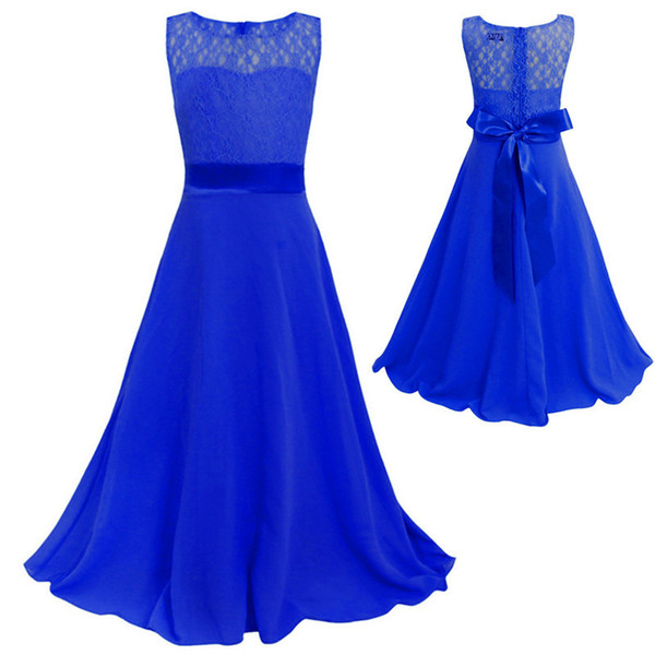 Kids Flower Lace Dress For Girl Wedding Party Bridesmaid Floral Girl Dress Mop The Floor Ball Gown Prom Formal Maxi Dress J190612