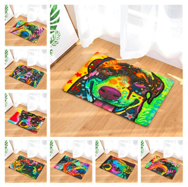 Watercolor Dog Puppy Doormat Bath Kitchen Carpet Decorative Anti-Slip Mats Room Car Floor Bar Rugs Door Home Decor Gift