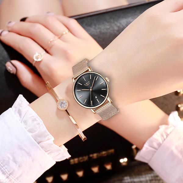 Lige reloj de las mujeres de primeras marcas de lujo súper impermeable reloj de pulsera de acero inoxidable impermeable reloj de cuarzo relojes + caja Y19062703
