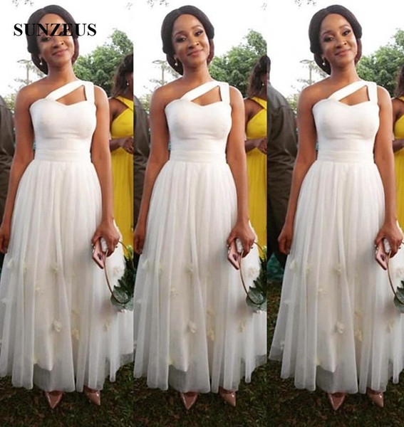 El yapımı Çiçekler Ile bir Omuz Fildişi Gelinlik Modelleri Tül Düğün Konuk Abiye Ayak Bileği Uzunluk Örgün Parti Elbise