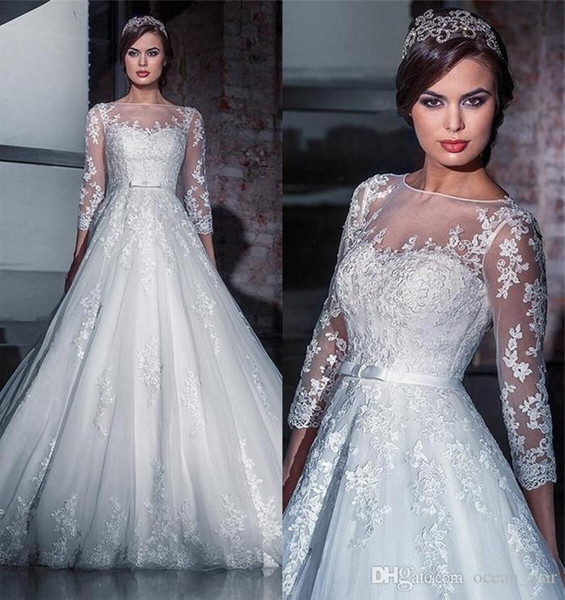 Murad Mermaid Lace Wedding Dresses Long Sleeves Detachable Train Sweetheart Neckline Applique Bridal Gowns