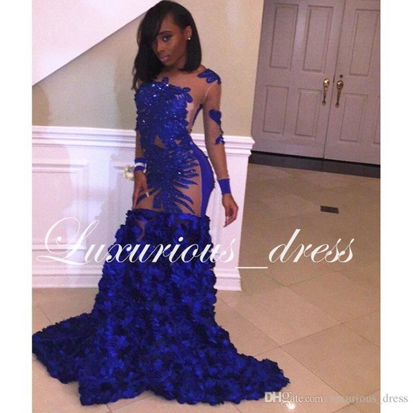 Royal Blue Long Mermaid Prom Dresses New Long Sleeve Flowers Sequined See Through Floor Length Formal Evening Dress Party Gowns