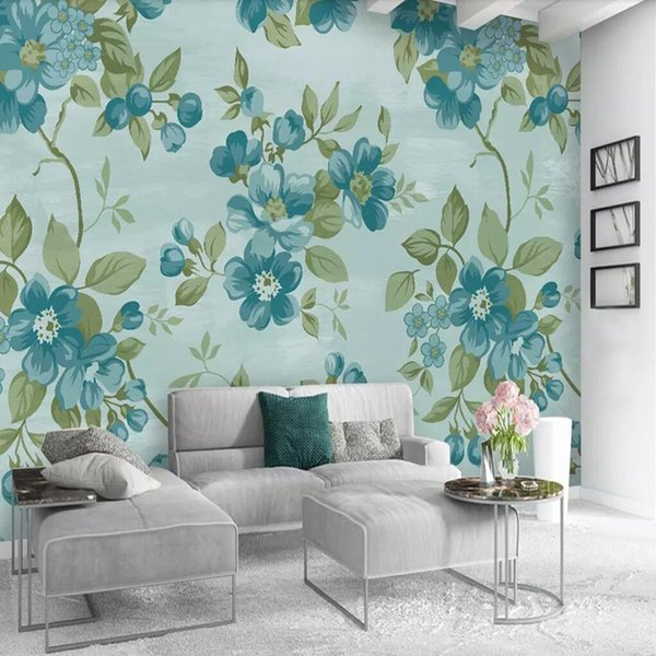 3d European flower wallpaper TV background wall Simple modern wall covering Bedroom sofa wallpaper American pastoral mural arkadi