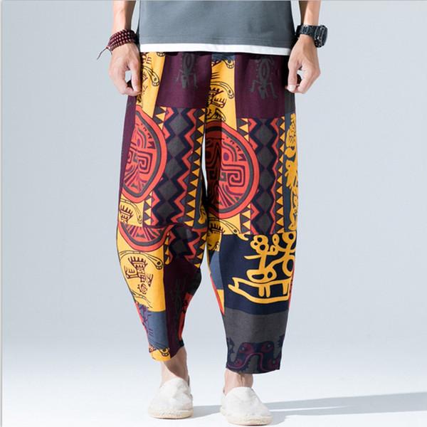 Pantalones de harén para hombre Pantalón de algodón de lino de impresión de verano Pantalones de hip hop Basculador Pantalones holgados flojos ocasionales Pantalones de chándal más el tamaño 5XL