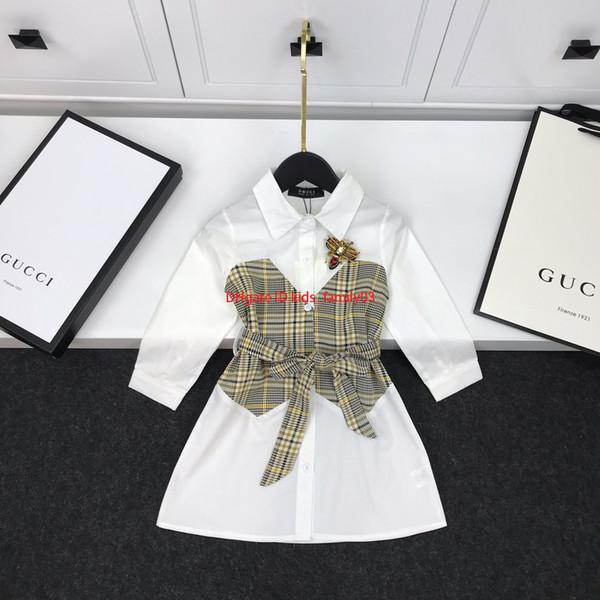 Vestido de camisa de niña ropa de diseñador para niños falso diseño de dos piezas dulce elegante blusa de otoño falda algodón cintura diseño2019
