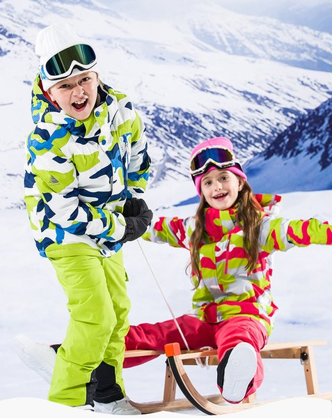 Ski Suit for Boys and Girls Kids VECTOR Windproof, Waterproof and Warm Camouflage Ski Race Suit Quick Dry