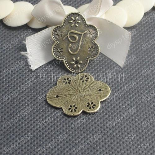 50pcs 30*23MM Antique bronze tibetan letter alphabet J charms vintage metal pendants diy necklace bracelet earring jewelry making material