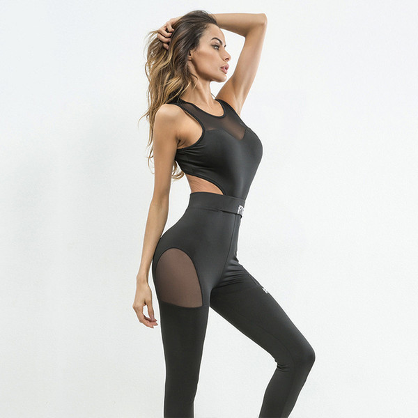 2018 Jumpsuit Fitness Women Black Sportswear Gym Running Sports Clothing Mesh Stitching Yoga Set Woman Padded Sexy L Sport Suit Y190508