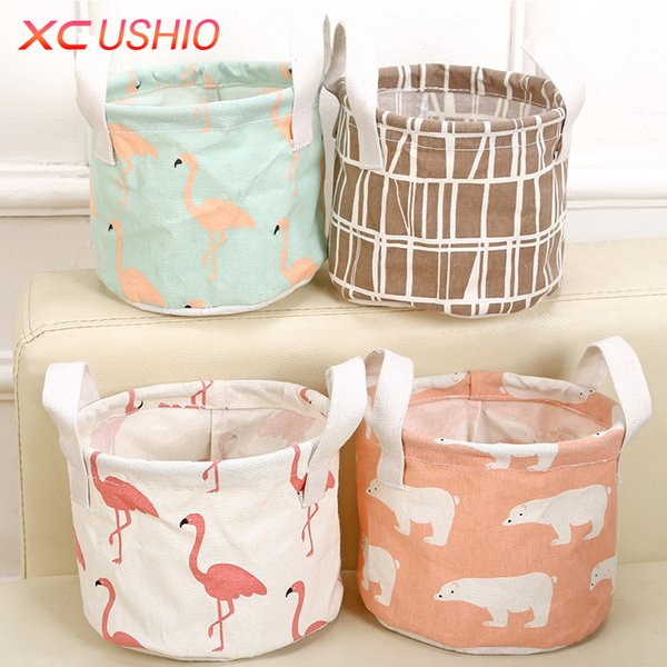 Cartoon Round Cotton Linen Desktop Storage Box Sundries Storage Organizer Stationery Cosmetic Storage Basket Container Case D19011201
