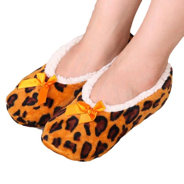 Home Soft Plush Leopard Slippers Coral Fleece Indoor Home Shoes Floor Sock Indoor Winter Foot Warmer household Slippers