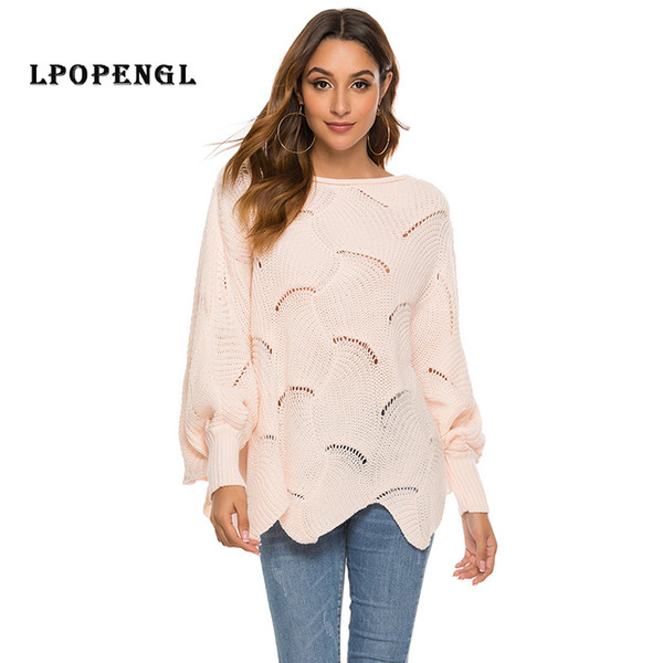 Pullover Women's Hollow Hook Flower Loose Bat Sleeve Sweater 2019 Knitting Autumn And Winter Women Knitted Sweater Knit Tops