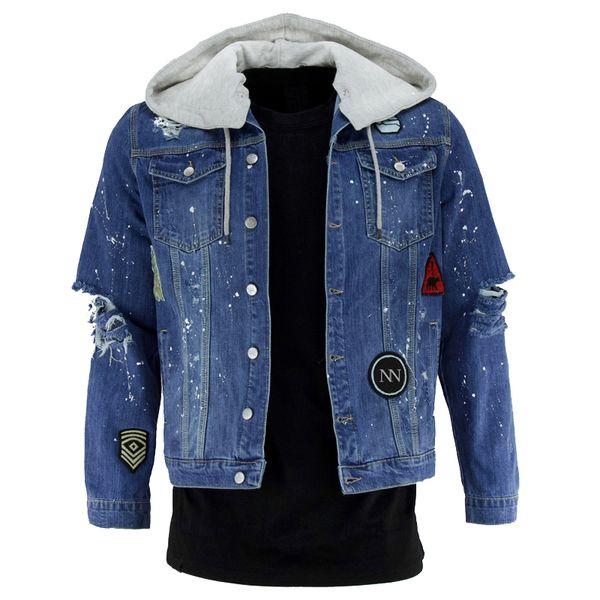 Yeni Stil 2019 Kovboy erkek Işlemeli Ceket Kapşonlu Denim ceket Klasik ceket Avrupa boyutu