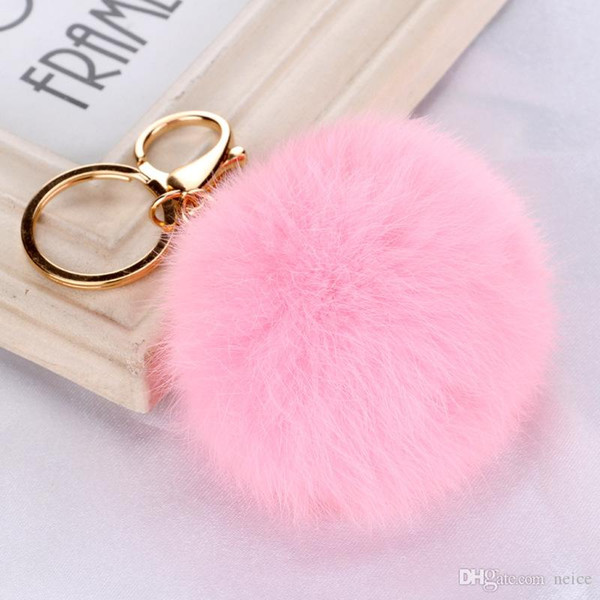 Hot Sale Real Rabbit Fur Ball Keychain Soft Fur Ball Lovely Gold Metal Key Chains Ball Pom Poms Plush Keychain Car Keyring