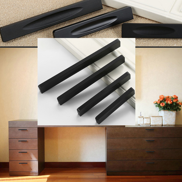 Aluminum Alloy Door Handles For Wardrobe Cabinet Cupboard Kitchen Bedroom 4sizes Furniture Hardware Black Simple Pulls Knobs