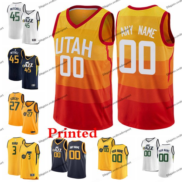 new styles 78040 8e73e 2019 2019 Printed Utah City Jazzs Donovan Mitchell Kyle Korver Ricky Rubio  Jae Crowder Rudy Gobert Dante Exum Ingles Edition Basketball Jersey From ...