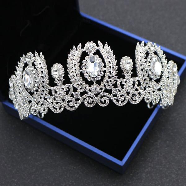 Lujo Barroco Reina Cristales Coronas de boda Tiaras nupciales Joyas de diamantes Rhinestone Tocados Accesorios para el cabello baratos Tiara