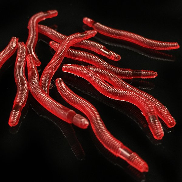 Red Earthworm Silicone Bait Worms Artificial Fishing Lure Tackle 3.5cm 0.2g Soft Baits Lifelike Fishy Smell Lures Pesca