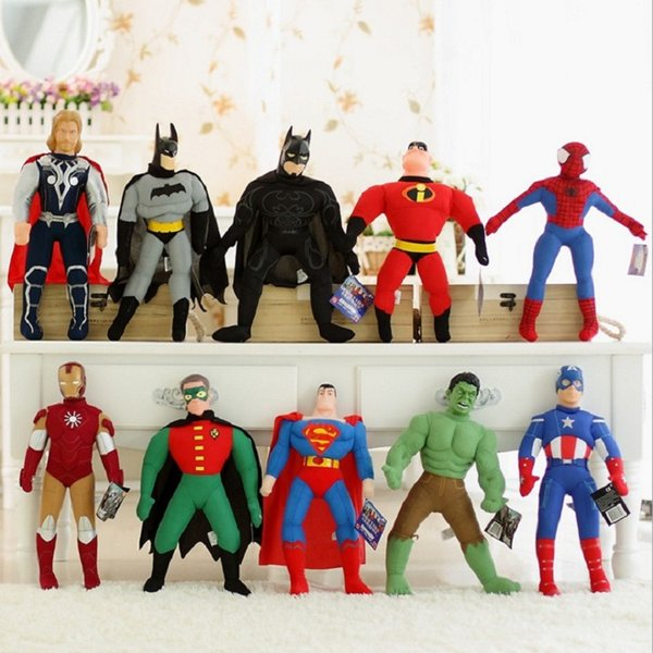 Großhandel 25 cm / 40 cm The Avengers Plüschtier PP Baumwolle Cartoon Action-figuren Captain America Hulk Spider-Man Flugzeug Spielzeug für Kinder Spielzeug