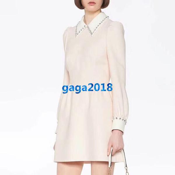 robe chemise haut de gamme femme filles cady avec cristaux revers manches longues une ligne mini jupes défilé robes de luxe de conception de mode personnalisée